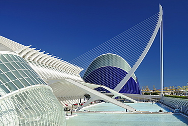 Spain, Valencia Province, Valencia, La Ciudad de las Artes y las Ciencias, City of Arts and Sciences, L'Hemisferic, Principe Felipe Science Museum, El Pont de l'Assut de l'OrBridge and Agora.