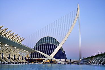 Spain, Valencia Province, Valencia, La Ciudad de las Artes y las Ciencias, City of Arts and Sciences, Principe Felipe Science Museum, El Pont de l'Assut de l'Or Bridge and Agora.