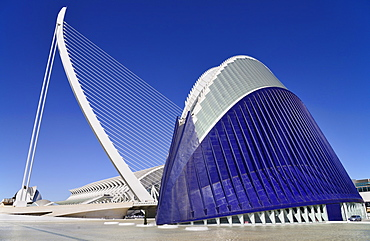 Spain, Valencia Province, Valencia, La Ciudad de las Artes y las Ciencias, City of Arts and Sciences, Principe Felipe Science Museum framed by El Pont de l'Assut de l'Or with the Agora in foreground.
