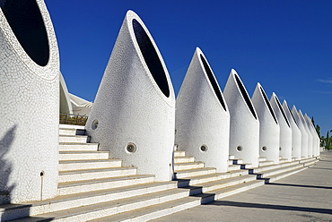 Spain, Valencia Province, Valencia, Spain, Valencia Province, Valencia, La Ciudad de las Artes y las Ciencias, City of Arts and Sciences, Pillars on the Umbracle sculpture garden.