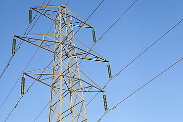 Environment, Power, Electricity, Pylons in the Hampshire countryside, England.