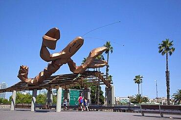Spain, Catalonia, Barcelona, El Barri Gotic, La Gamba Sculpture next to Port Vell.