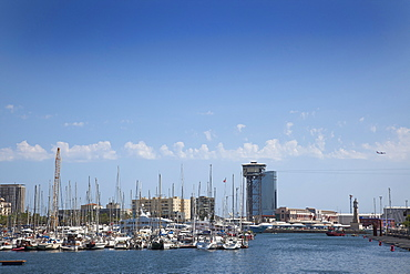 Spain, Catalonia, Barcelona, View across Port Vell with the Cable Car tower visible.,