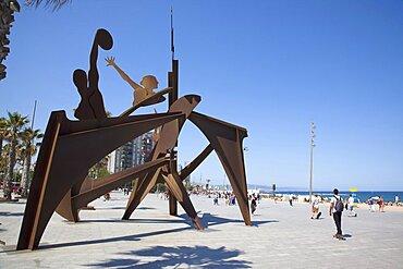 Spain, Catalonia, Barcelona, Playa de St Sebastia, Barceloneta Beach, Plaza del Mar, Swimming Hommage sculpture by Alfredo Lanz.