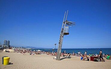 Spain, Catalonia, Barcelona, Playa de St Sebastia, Barceloneta Beach, Empty Lifeguard lookoput station.