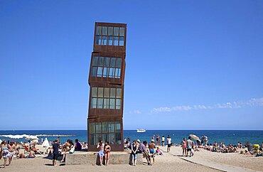 Spain, Catalonia, Barcelona, Playa de St Sebastia, Modern sculpture Homentage a la Barceloneta by Rebecca Horn.