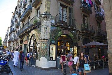 Spain, Catalonia, Barcelona, La Rambla, Exterior of Pasteleria Escriba.