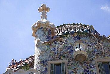 Spain, Catalonia, Barcelona, Exterior of Casa Batllo on Passeig de Gracia, designed by Antoni Gaudi.