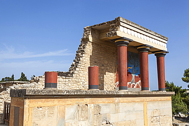 Greece, Crete, Knossos, The north entrance, Knossos Palace.
