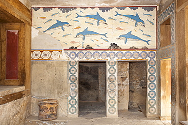 Greece, Crete, Knossos, Dolphin fresco in the Queen's Megaron, Knossos Palace.