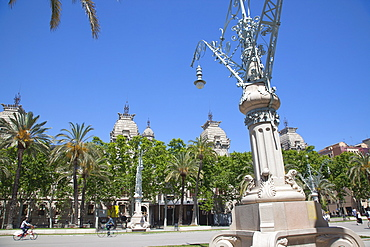 Spain, Catalonia, Barcelona, Parc de la Ciutadella with the roof of Palau de Justica visible.