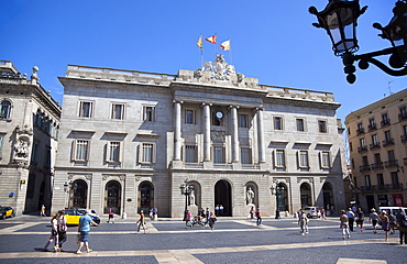 Spain, Catalonia, Barcelona, Placa de Sant Jaume, Town Hall in the Gothic Quarter.