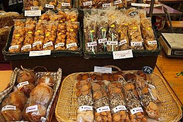 Spain, Catalonia, Barcelona, Art and farmers market in Placa del Pi next to Santa Maria del Pi church.