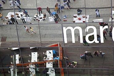 Spain, Catalonia, Barcelona, Mare Magnum mirrored glass modern shopping mall.