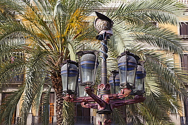 Spain, Catalonia, Barcelona, Ornate street lamp and palm trees in Placa Reial.