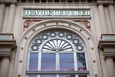 Spain, Catalonia, Barcelona, Exterior of Teatre del Liceu on La Rambla.