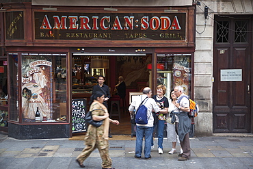 Spain, Catalonia, Barcelona, American Soda cafe on La Rambla.