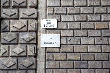 Spain, Catalonia, Barcelona, Detail of the exterior of Rambla dels Estudis a former Jesuit University.