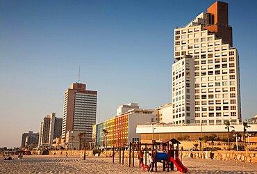 Israel, Tel Aviv, King David, Dan and Sheraton Hotels on Gordon Beach, Ha'yarkon Street.