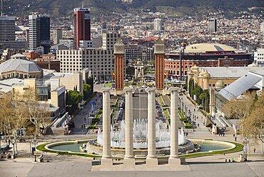 Spain, Catalunya, Barcelona, Placa d'Espanya as seen from Montjuic Hill with the Venetian Towers and the Arenas de Barcelona bullring.