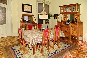 Spain, Catalunya, Barcelona, Antoni Gaudi's La Pedrera building, recreated apartment of a bourgeois family from 1900 to 1930.