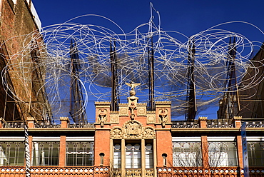Spain, Catalunya, Barcelona, Facade of Fundacio Antoni Tapies.