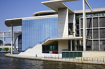 Germany, Berlin, Marie Elisabeth Luders Haus which is a service centre of the Bundestag located across the River Spree behind the Reichstag.