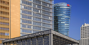 Germany, Berlin, Potzdamer Platz station with Bahn Tower behind.