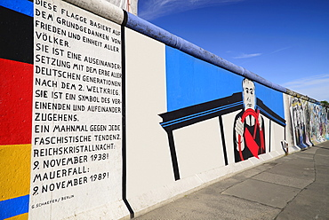 Germany, Berlin, The East Side Gallery, a 1.3 km long section of the Berlin Wall, A mural by Georg Lutz depicts former Soviet leader Mikhail Gorbachev driving.