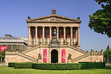 Germany, Berlin, Alte National Galerie, Old National Gallery building housing a collection of 19th century European art with an equestrian statue of Frederick William IV out front.