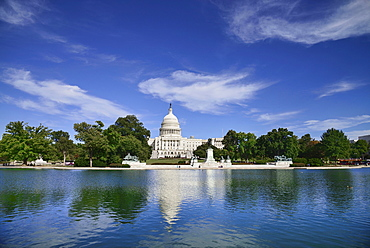 USA, Washington DC, Capitol Building, View from across the Capitol Reflecting Pool.