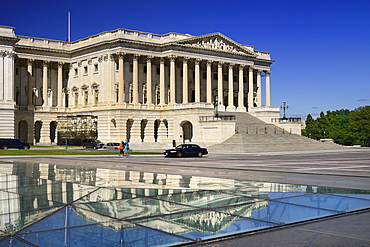 USA, Washington DC, Capitol Building, The House of Representatives reflected in the Capitol Visitor Centre roof.