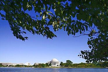 USA, Washington DC, National Mall, Thomas Jefferson Memorial viewed across the Tidal Basin.