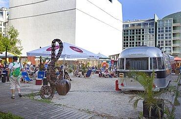 Germany, Berlin, Mitte, Charlies Beach Bar on Friedrichstrasse next to Checkpoint Charlie.
