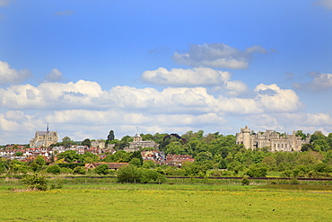 England, West Sussex, Arundel, Castle and Cathedral seen across farmland.