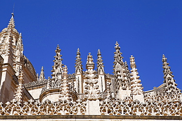 Spain, Castille-Leon, Segovia, Detail of the Cathedral.