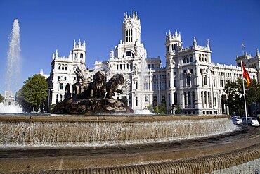 Spain, Madrid, Plaza de la Cibeles & Central Post Office.