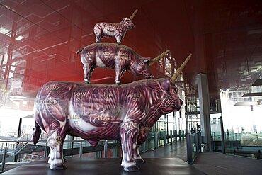 Spain, Madrid, 'Wheat & Steak' sculpture by Miralda in the Reina Sofia Museum.