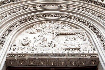 Spain, Madrid, Detail of Nativity scene from the main portal of church San Jeronimo el Real.