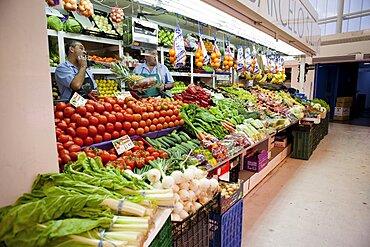 Spain, Madrid, Fruit & vegetable stall in Mercado de Barcelo.