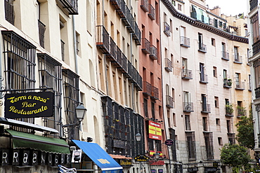 Spain, Madrid, Apartments in the Plaza Mayor district.