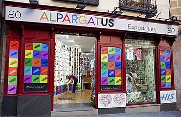 Spain, Madrid, Shoe shop.