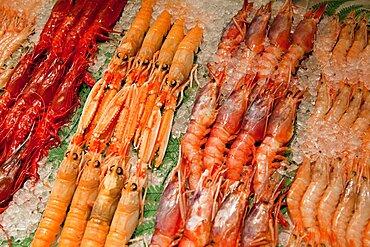 Spain, Madrid, Display of langoustines on a stall in the Mercado San Anton.