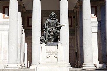 Spain, Madrid, Statue of Valazquez outside the Prado Museum.