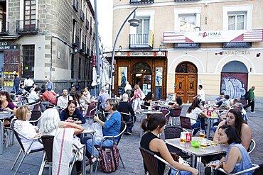 Spain, Madrid, Bars in the la Latina district.