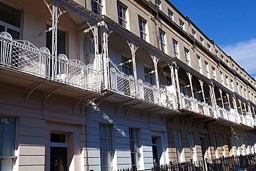 England, Bristol, Terraced houses on Royal York Crescent in the Clifton district.