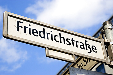 Germany, Berlin, Mitte, Roadsign for Friedrichstrasse.