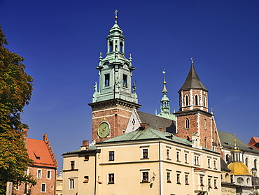 Poland, Krakow, Wawel Hill, Wawel Cathedral, Clock tower.