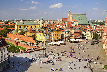 Poland, Warsaw, Plac Zamkowy or Castle Square seen from St Anne's Church Viewing Tower.