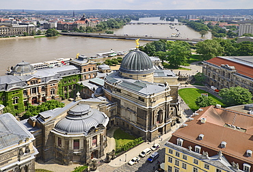 Germany, Saxony, Dresden, View of  the Albertinum Modern Art Gallery and the River Elbe from the dome of Frauenkirche.